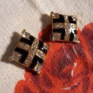 Monet Rhinestone and Black Enamel Pierced Earrings